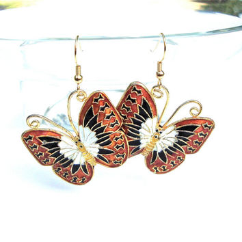 Dangly monarch butterfly earrings - cloisonne butterfly earrings - orange, black and gold butterfly earrings by Sparkle City Jewelry