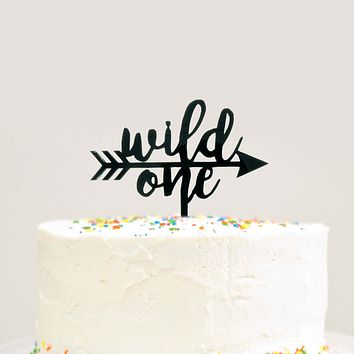 Wild One Arrow Birthday Cake Topper Tribal Birthday Party Black Acrylic
