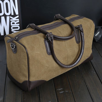 Durable travel bag canvas leather gripesack