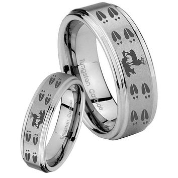 His and Hers Step Edge Deer Hunting Tracks Tungsten Silver Wedding Rings Set