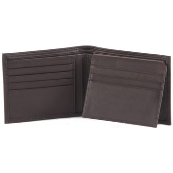 300796-BR Brown Bifold PassCase Leather Wallet with Flap | Style n Craft