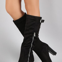 Wild Diva Lounge Suede Buckled Zipper Heeled Knee High Boots