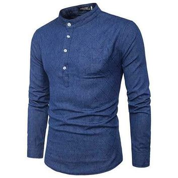 Brief Style Denim Chinese Collar Long Sleeve Casual T-shirt