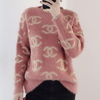 Hot Sale Autumn Winter Trending Women Stylish Mohair Long Sleeve Round Collar Sweater Pullover Top Pink