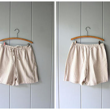 Drawstring Board Shorts 90s Elastic Waist Thin Cotton Shorts Minimal Checkered Beige Shorts MOM Shorts Pockets Beach Shorts Women Large