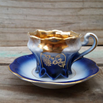 Blue and Gold Flower Footed Teacup Demitasse and Saucer made in Germany