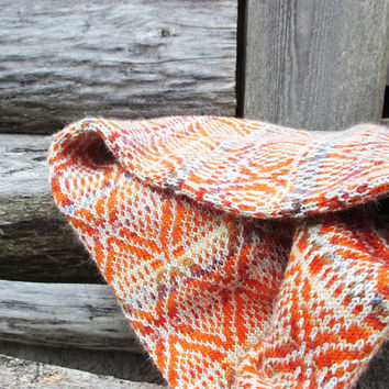 Orange cowl scarf, Geometric patterned scarves for women, in orange and grey