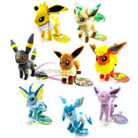 "8PCS New 6-8"" Pokemon Eevee ESPEON LEAFEON VAPOREON JOLTEON Plush Toy PC1859"