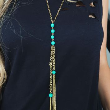 Time Stands Still Necklace: Gold/Turquoise