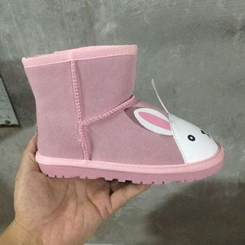ESBON UGG White Rabbit Children's Shoes  Kids Little Monsters Series Women Men Fashion Casual Wool Winter Snow Boots Pink