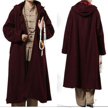 4color yellow/brown/red/gray/ winter warm wool lay meditation cloak Shaolin kung fu monks robes Buddhist cape