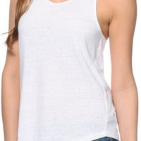 Zine Solid White Tank Top
