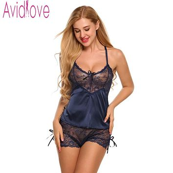 Avidlove Women Sexy Silk Satin Pajama Set Lace Pyjama Set Sleeveless Pijama Set V-neck Sleepwear Summer Sleep Wear For Women