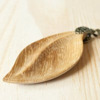 Leaf wooden necklace pendant. Leaf, wood, Iroko (African Teak) necklace pendant. Handmade. Unique Wood Jewelry. Wood carving. Wood Craft.