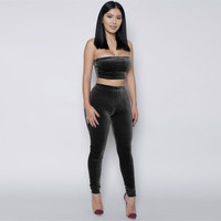 High Waist Velvet Jumpsuits Women Backless Strapless Sexy Party Clothes Set Autumn Winter Solid Bodycon Crop Top and Long Pants