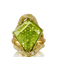 Valentina Kite Shape Peridot and Diamond Ring