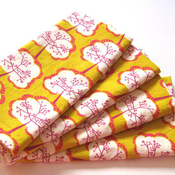 Cloth Napkins - Set of 4 - Orange Yellow Hot Pink Trees - Dinner, Table, Everyday, Wedding