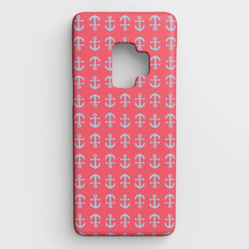 Anchor Toss Cell Phone Case Galaxy S9 - Light Blue on Coral