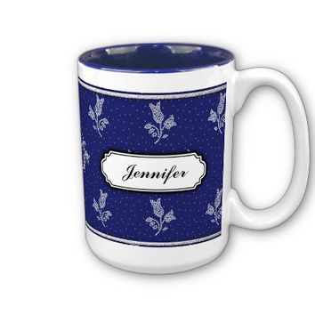 Tiny Harebells - Hungarian Blue-dye Folk Art Coffee Mug from Zazzle.com