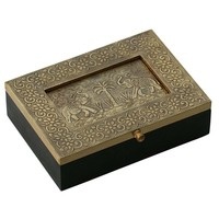 "Handmade 7.5"" Wooden Jewelry Box With Embossed Metal Sheet"