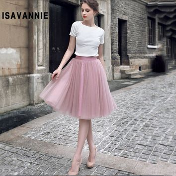 Mauve 5 layer Swiss Soft Tulle Skirt Hidden Zipper Band 5cm Width Adult Tutu Women Autumn Style High Waisted Saia Jupe Ball Gown