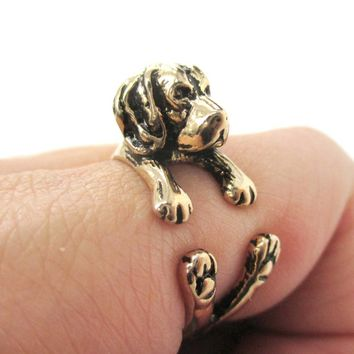 3D Beagle Dog Shaped Animal Wrap Ring in Shiny Gold | Sizes 4 to 8.5