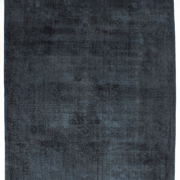 """7'9"""" x 10'8"""" Midnight Blue Vintage Persian Overdyed Rug"""
