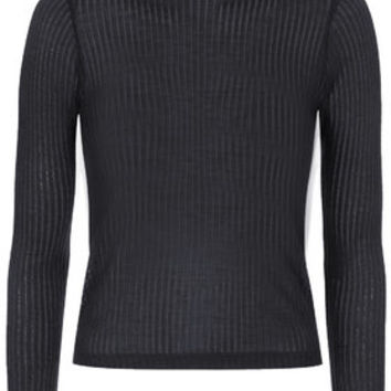Long Sleeve Rib Funnel Neck Top - Navy Blue