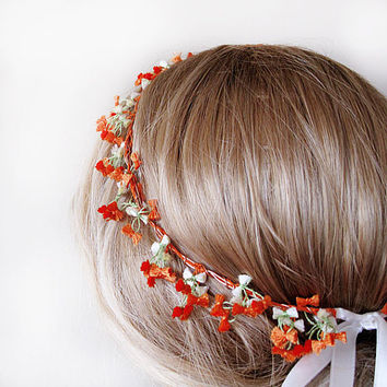 Best Orange Crocheted Headband With Flower Products on Wanelo 965d9f15636