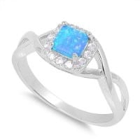 Sterling Silver Twisted Blue Lab Opal & Simulated Diamond Ring - Size 8