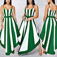 Fashionable Sexy Women's Dresses Spliced Stripe Printed Big Pendulum Tri-color Dresses Only one piece Green