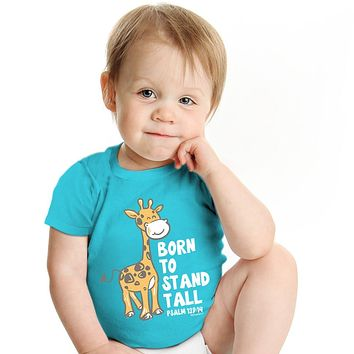 Kerusso Born to Stand Tall Giraffe Christian Baby Toddler Youth Bright T Shirt
