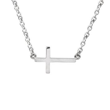 17mm Polished Sideways Cross Adjustable 14k White Gold Necklace