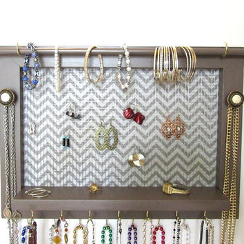 "Earring Wall Hanging - Jewelry Organizer - Latte - 14""x18"" - Shelf - Wire Mesh -1 Bracelet Bar - 17 Hooks - Vintage Knobs - Choice of Fabric"
