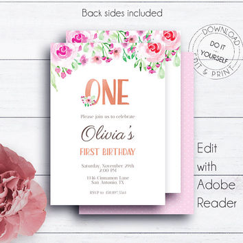 Floral First Birthday Invitation, 1st Birthday, Girl Birthday, 1st, Printable Invitation, Editable, Invitation Template, Party Invitation