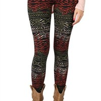 Wine and Olive Tribal Print Legging
