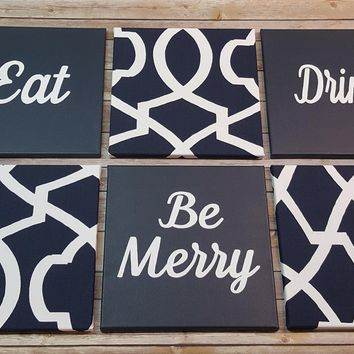 Eat Drink Be Merry Navy White Wall Art Pack of 6 Canvas Wall Hangings. Dining Room Decor. Kitchen Decor. Dining. Home Decor.