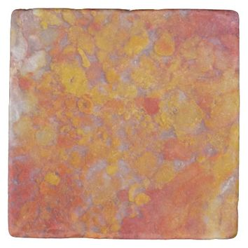 Orange Moss Agate Pattern Stone Coaster