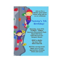 Rock Wall Climbing Birthday Party Invitation from Zazzle.com