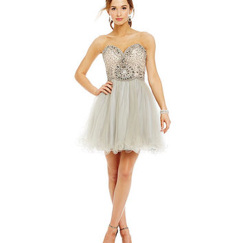 Glamour by Terani Couture Strapless Beaded Lace Up Back Party Dress | Dillards