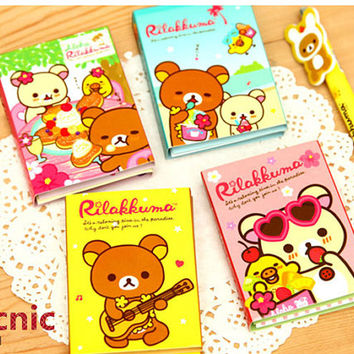 Rilakkuma Mini Memo Pad Picnic Collection Rilakkuma Sticky Notes Kawaii Paper Gift Sticker Agenda Post-it Tag korean Booklet Bear MD36