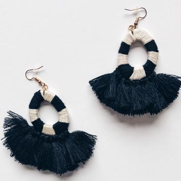 Emmy Black and White Tassel Earrings