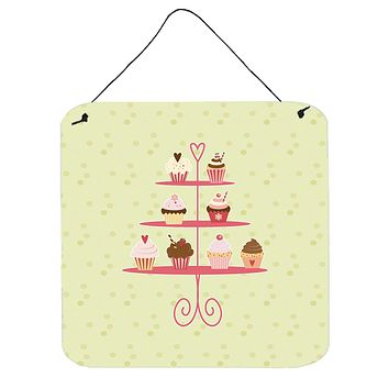 Cupcakes 3 Tier Stand on Green Wall or Door Hanging Prints BB7304DS66