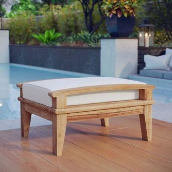 Patio Furniture Ottoman Solid Teak Wood Outdoor Garden Pool Contemporary White