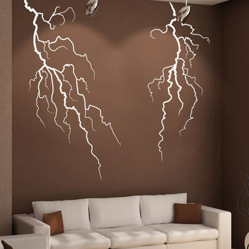 Vinyl Wall Decal Sticker Double Lightning Bolt #GFoster165