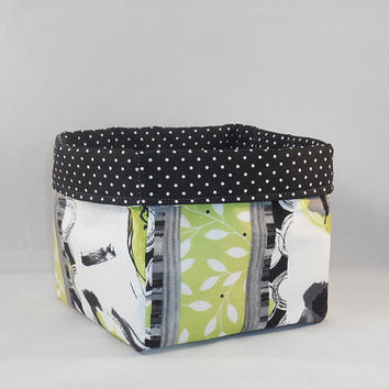 Black, White And Citron Fabric Basket For Storage Or Gift Giving