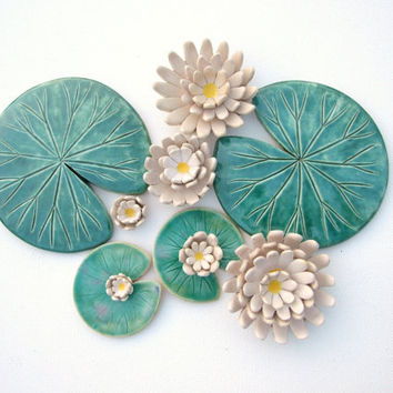 Set of Lily pad coasters and lily flowers ceramic green leaf summer time Waterlily emerald Spring green