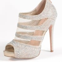 High Heel Mesh Open Sandal with Back Zipper