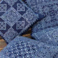 Hmong Pillow In Natural Indigo Batik On Cotton Cushion Cover 4 Patterns