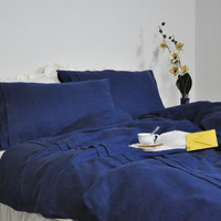 Navy Linen Duvet Cover Set, Queen, King, Full Duvet Cover & Pillowcases - Navy Blue Linen Bedding,  Custom Size, Pleated Duvet Cover Set